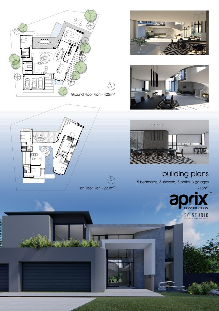 Affordable Turnkey Home Building plan, 5 bedrooms, 5 showers, 5 baths, 3 garages 715m2 - Gauteng construction company
